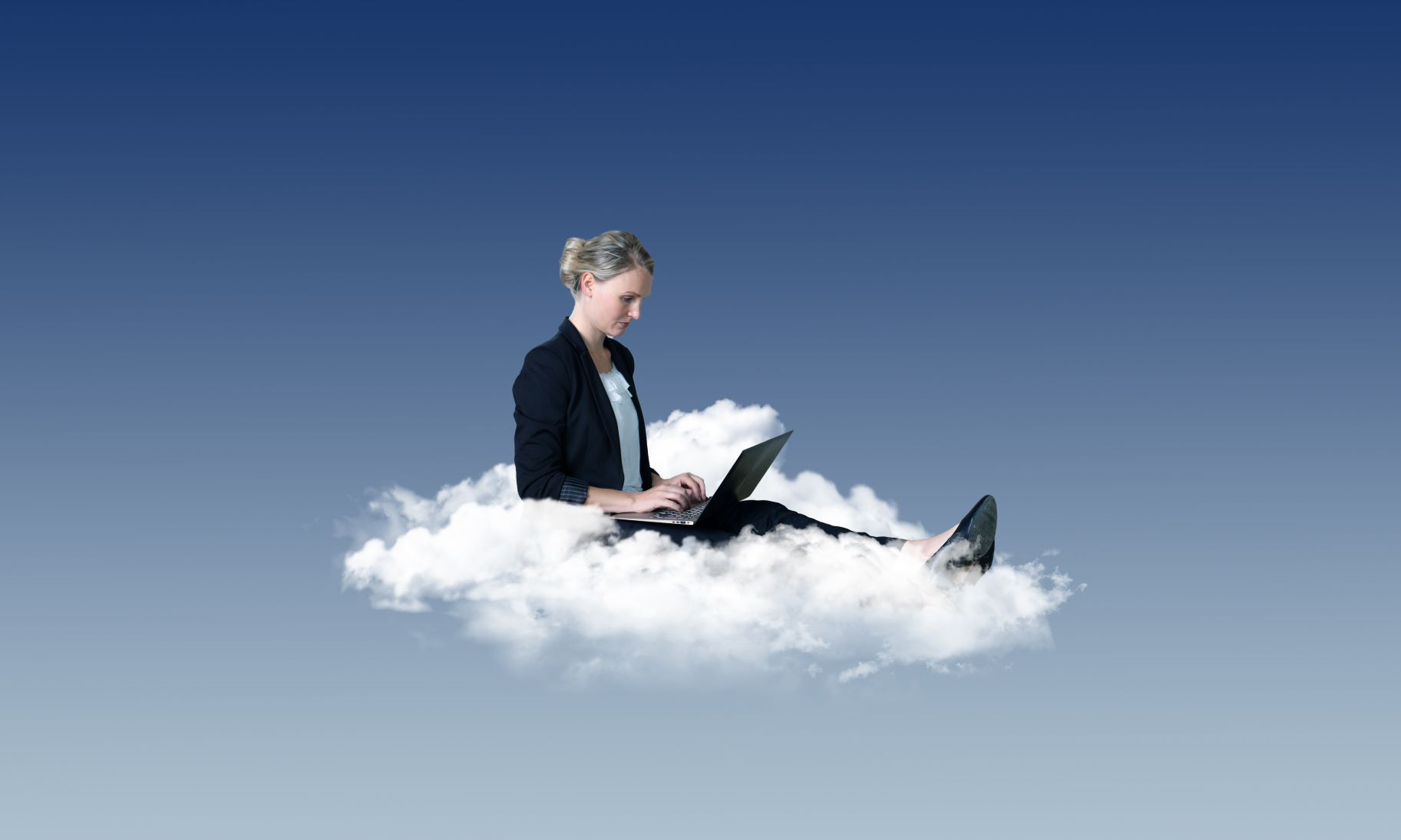 Cloud technology software, woman sitting on a cloud with her laptop