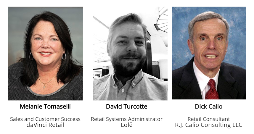 Headshots of our webinar panelists who specialize in retail buying and planning, BOPIS, ecommerce, and software solutions